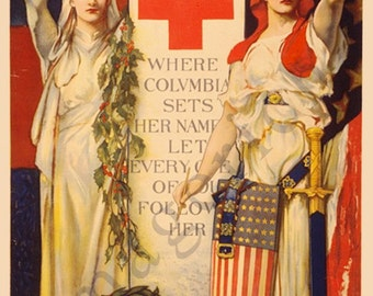 World War 1 Poster -  Red Cross Christmas roll call - December 16th to 23rd