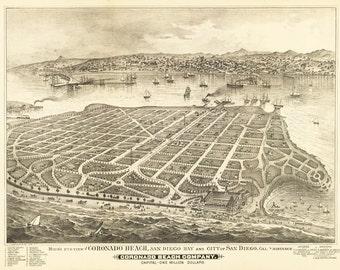 Vintage Map - Coronado Beach, San Diego, California 1888