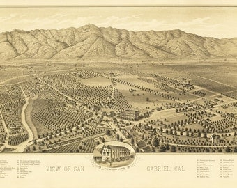 Vintage Map - San Gabriel, California 1893