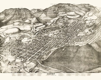 Vintage Map -Aspen, Colorado 1893