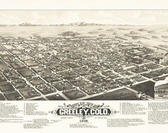 Vintage Map - Greeley, Colorado 1882