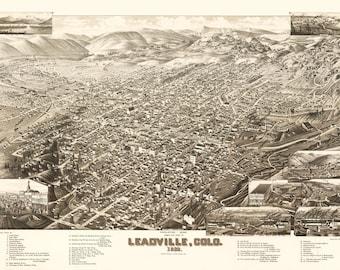 Vintage Map - Leadville, Colorado 1882