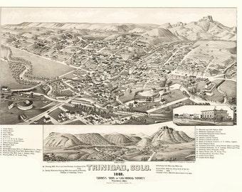 Vintage Map - Trinidad, Colorado 1882