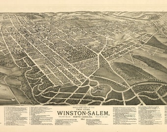 Vintage Map - Winston-Salem, North Carolina 1891