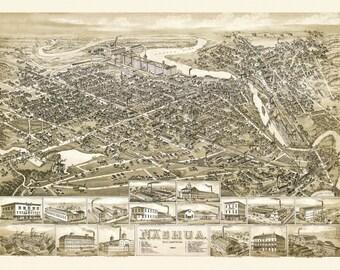 Vintage Map - Nashua, New Hampshire 1883