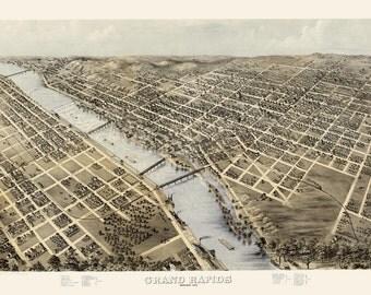 Vintage Map - Grand Rapids, Michigan 1868