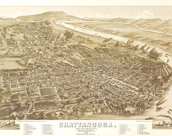 Vintage Map - Chattanooga, Tennessee 1886