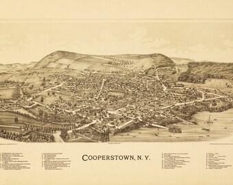 Vintage Map - Cooperstown, New York 1890