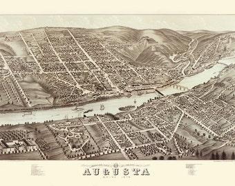 Vintage Map - Augusta, Maine 1898