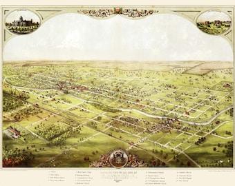 Vintage Map - Lansing, Michigan 1866