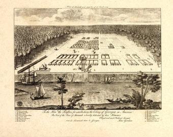 Vintage Map - Savannah, Georgia 1734