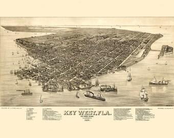 Vintage Map - Key West, Florida 1884