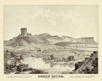 Vintage Map - Green River, Wyoming 1875