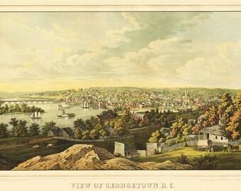 Vintage Map - Georgetown,  Washington DC 1855