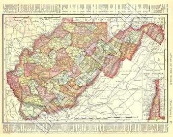 Vintage State Map - West Virginia 1895