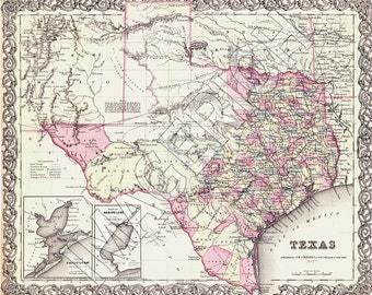 Vintage State Map - Texas 1855