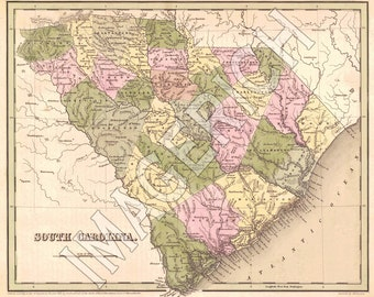 Vintage State Map - South Carolina 1838