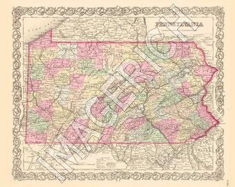 Vintage State Map - Pennsylvania 1856