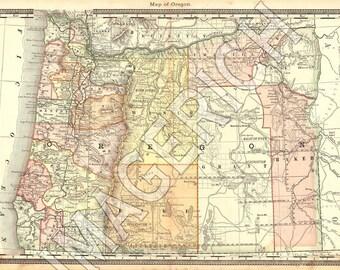 Vintage State Map - Oregon 1883