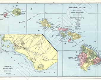 Vintage State Map - Hawaii 1898