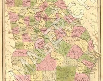 Vintage State Map - Georgia 1839