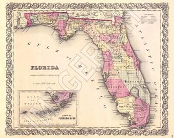Vintage State Map - Florida 1855