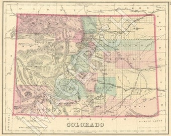 Vintage State Map - Colorado 1876