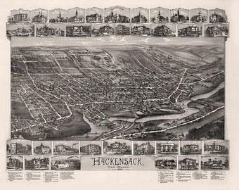 Vintage Map - Hackensack, New Jersey 1896
