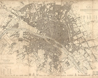 Vintage Map - Paris, France 1834