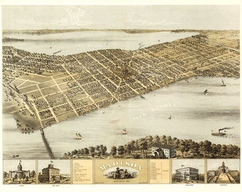 Vintage Map - Madison, Wisconsin 1867