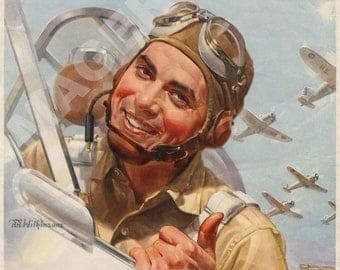 World War II Poster - You Buy 'Em, We'll Fly 'Em - Defense Bond Stamps
