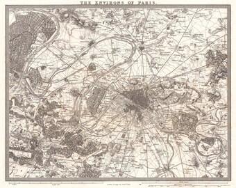 Vintage Map - Paris, France 1852