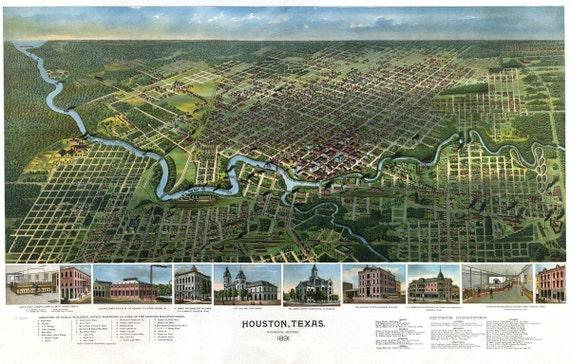 Vintage Map - Houston, Texas 1891