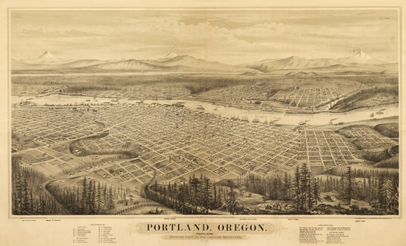 Vintage Map - Portland, Oregon 1879