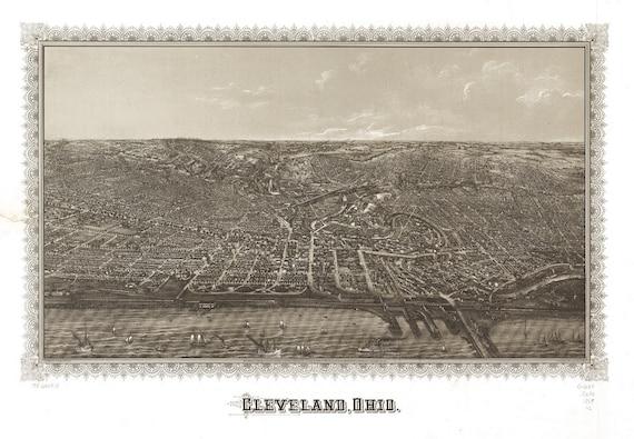 Vintage Map - Cleveland, Ohio 1887