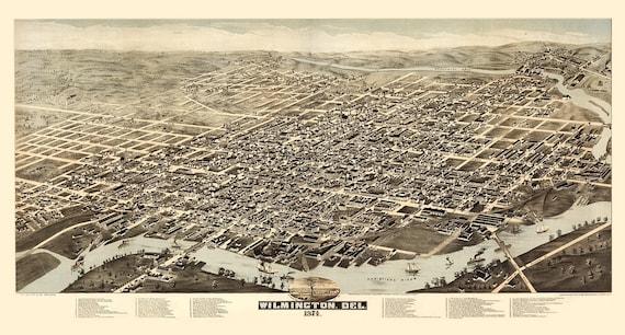 Vintage Map - Wilmington, Delaware 1874