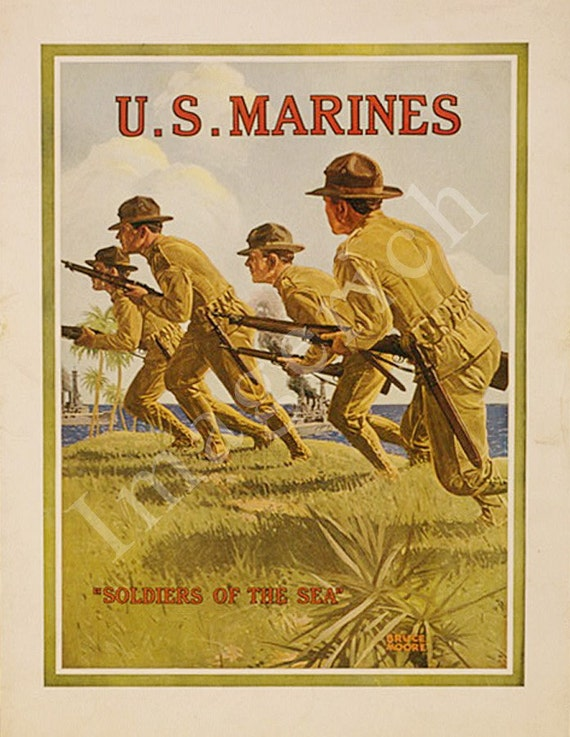 "World War 1 Poster - U.S. Marines - ""Soldiers of the sea"""