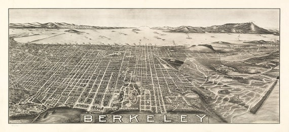 Vintage Map - Berkeley, California 1909