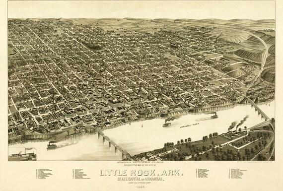 Vintage Map - Little Rock, Arkansas 1887