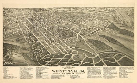 Vintage Map - Winston-Salem, North Carolina 1891