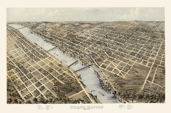 Vintage Map - Grand Rapids, Michigan 1868