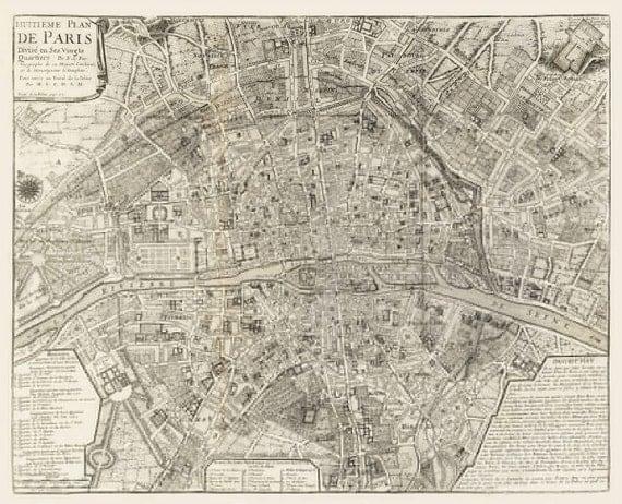 Vintage Map - Paris, France 1705