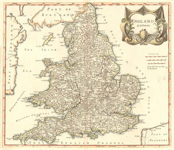 Vintage Map - England, 1695