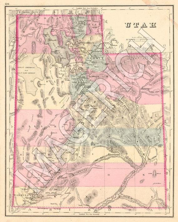 Vintage State Map - Utah 1874