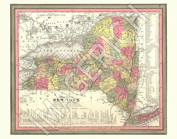 Vintage State Map - New York 1847