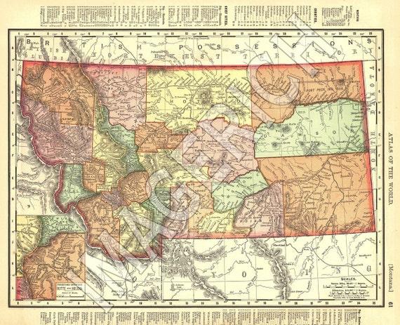 Vintage State Map - Montana 1895