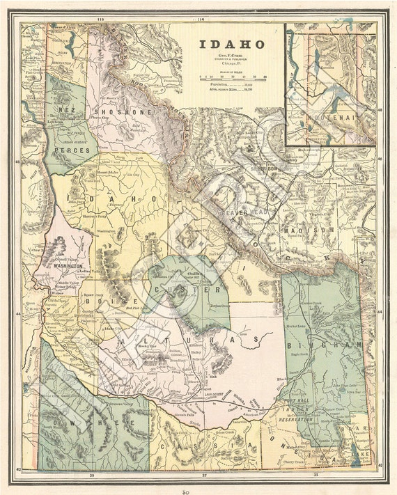 Vintage State Map - Idaho 1887