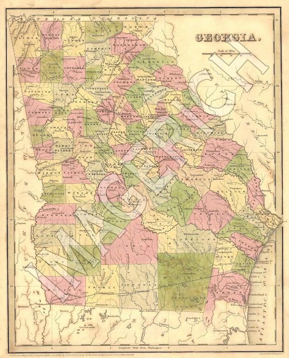 Vintage State Map Georgia 1839