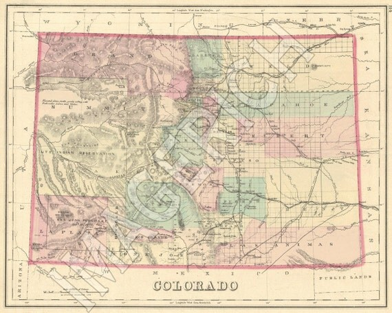 Vintage State Map Colorado 1876: Vintage State Maps At Codeve.org