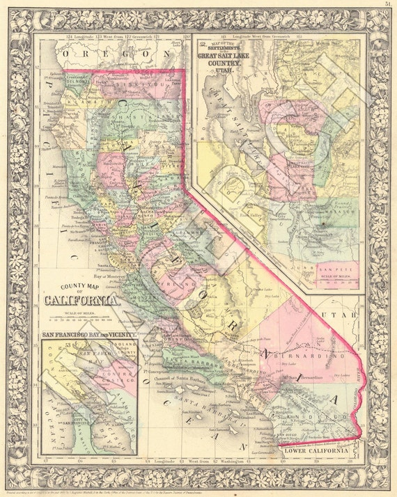 Vintage State Map California 1860: Vintage State Maps At Codeve.org